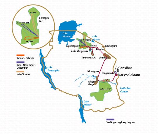 Tansania: Karte und Tourenverlauf Serengeti, Usambaraberge und Selous-Nationalpark