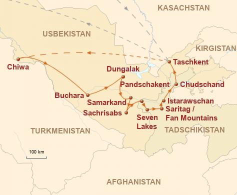 Mongolei: Karte und Tourenverlauf Rundreise Usbekistan & Tadschikistan