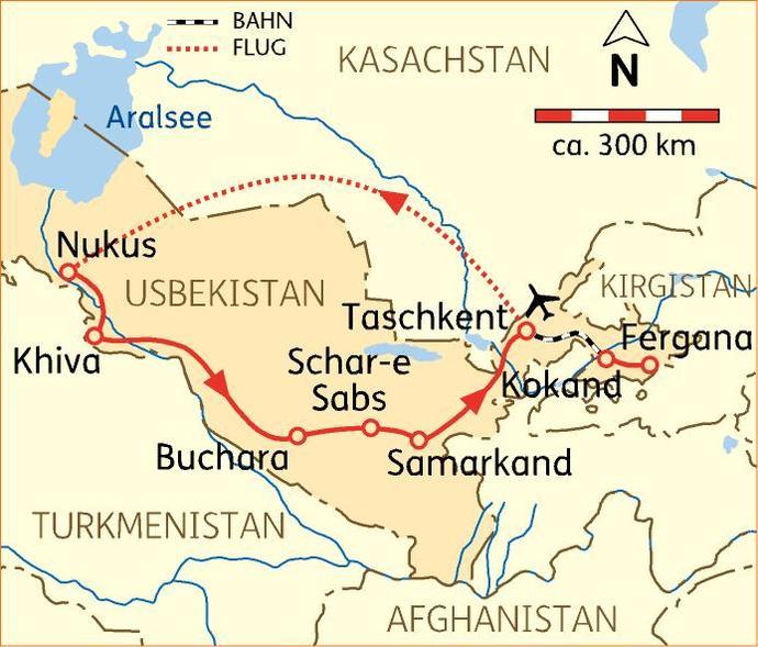 Mongolei: Karte und Tourenverlauf Reise über die Seidenstraße und durchs Ferganatal
