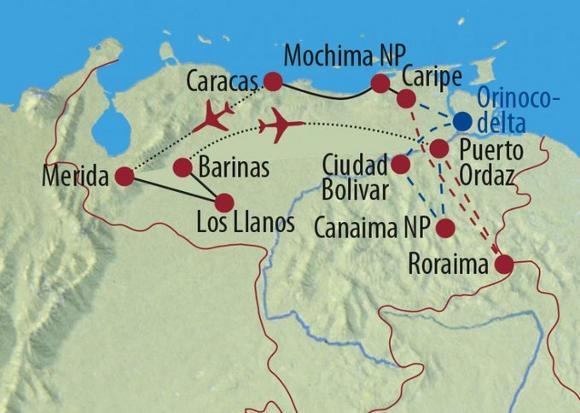 Kolumbien: Karte und Tourenverlauf Roraima-Tepuy, Orinoco-Delta und Mochima Nationalpark
