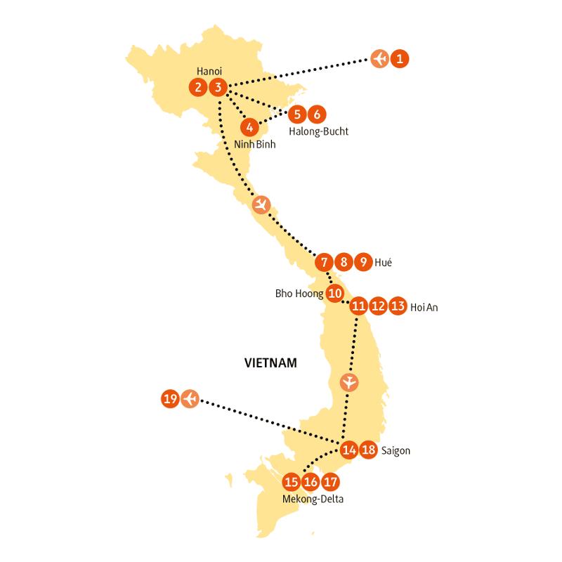 Vietnam: Karte und Tourenverlauf Exklusivreise Halong Bucht – Mekong Delta