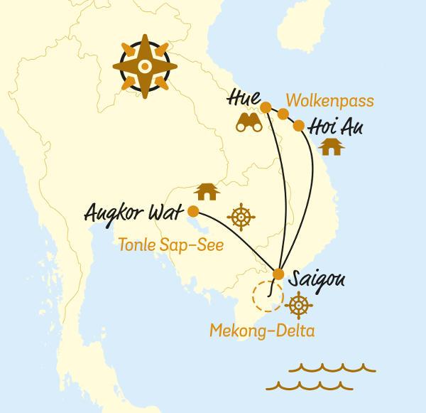Laos: Karte und Tourenverlauf E-Bike-Reise Südostasien