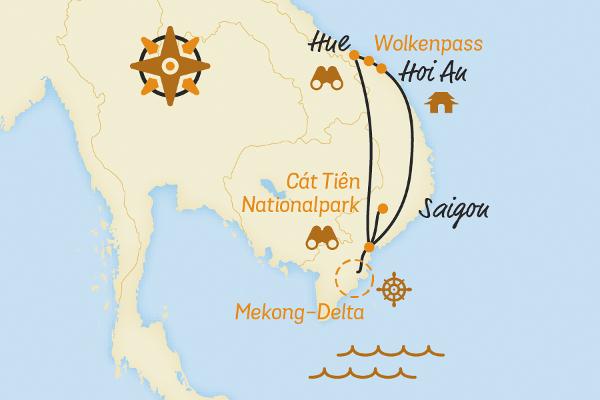 Kuba: Karte und Tourenverlauf E-Bike-Reise Vietnam