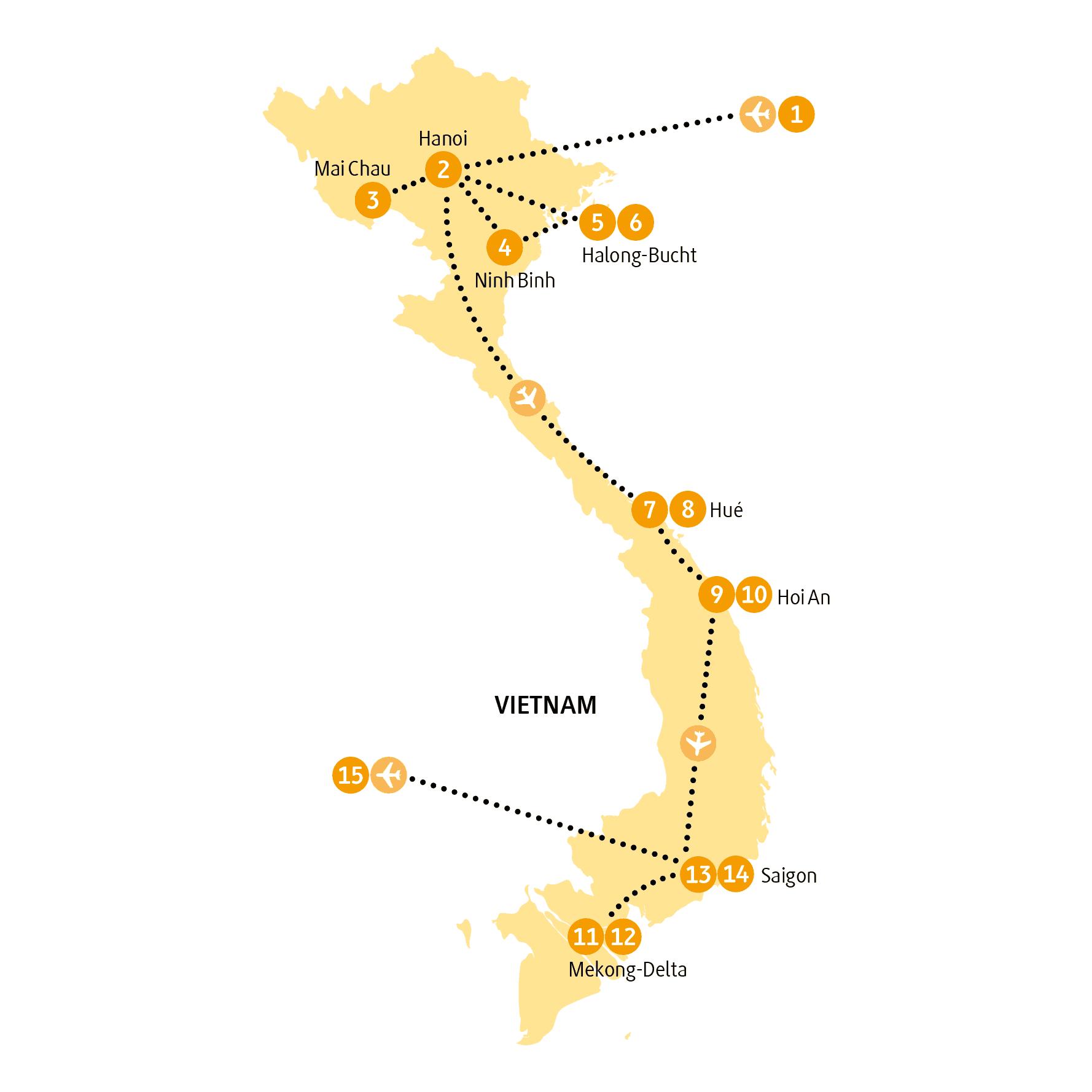 Vietnam: Karte und Tourenverlauf Rundreise Sapa – Halong – Mekong