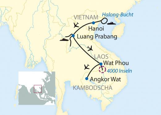 Kambodscha: Karte und Tourenverlauf Flusskreuzfahrt zum Welterbe