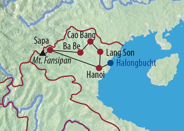 Vietnam: Karte und Tourenverlauf Nebelwälder, Ba Be See und Halong Bucht