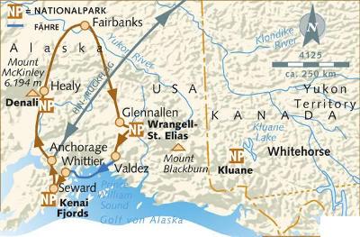 Russland (Asien): Karte und Tourenverlauf Rundreise durch das ursprüngliche Alaska