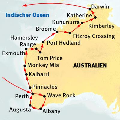 Australien: Karte und Tourenverlauf Entlang der Küste Westaustraliens