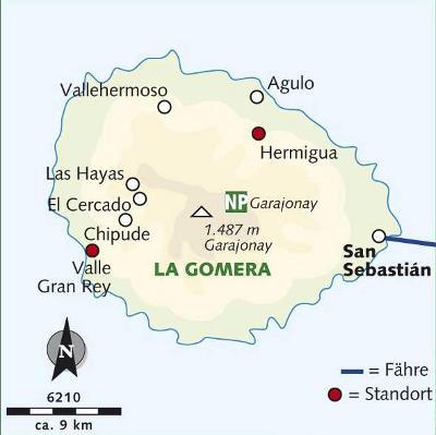 Frankreich: Karte und Tourenverlauf Gomera Wanderreise