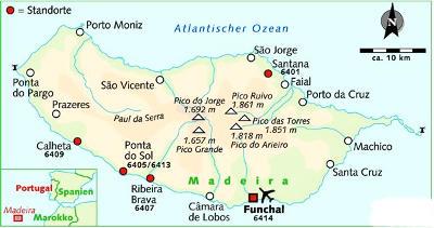Madeira: Karte und Tourenverlauf Wandern – Berge – Levadas