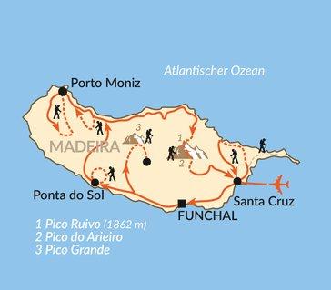 Kapverden: Karte und Tourenverlauf Wander-Paradies Madeira