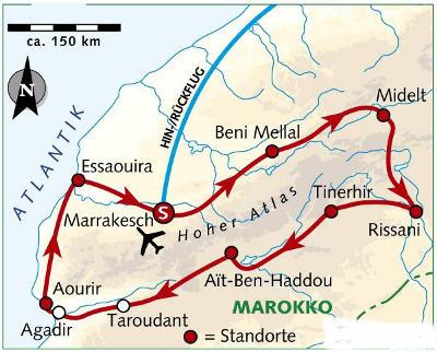Marokko: Karte und Tourenverlauf Fahrradreise Marrakesch