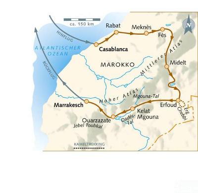 Marokko: Karte und Tourenverlauf Wandern und Kameltrekking in Marokko