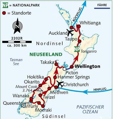 : Karte und Tourenverlauf Fahrradreise Neuseeland