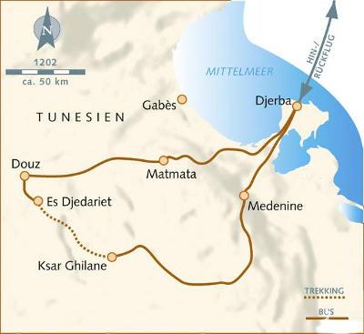 Oman: Karte und Tourenverlauf Sahara Kameltour