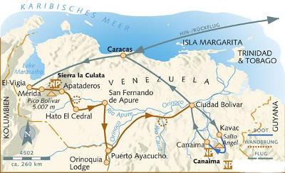 Kolumbien: Karte und Tourenverlauf Anden, Urwald und Tafelberge