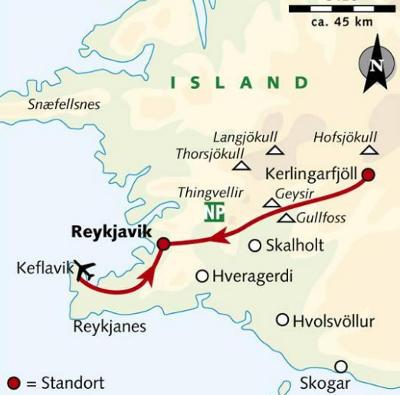 Island: Karte und Tourenverlauf Schneeschuhwandern in Island