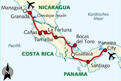 Brasilien: Karte und Tourenverlauf Radreise durch Mittelamerika