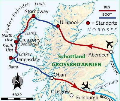 Norwegen: Karte und Tourenverlauf Wandern auf den Äußeren Hebriden