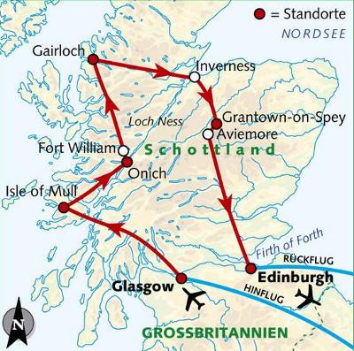 Norwegen: Karte und Tourenverlauf Schottland Studienreise