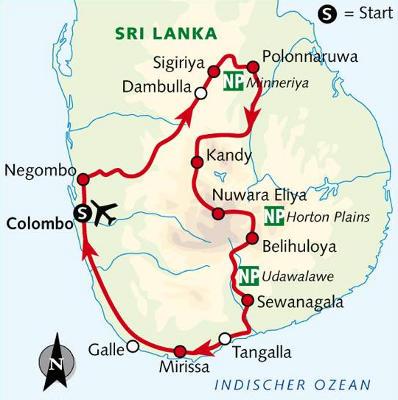 China: Karte und Tourenverlauf Fahrradreise Sri Lanka