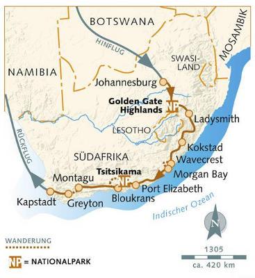 Namibia: Karte und Tourenverlauf Wandern entlang der Garden Route