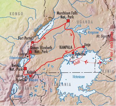 Uganda: Karte und Tourenverlauf Gorillas im Nebel