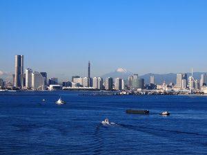 Blick von Yokohama aus auf den Mt. Fuji